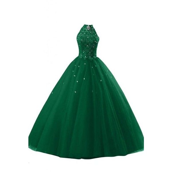 Sunvary Gorgeous Ball Gown Long Halter Neck Quinceanera Prom Gown ($105) ❤ liked on Polyvore featuring dresses, gowns, green evening dress, green dress, long evening dresses, long dresses and long evening gowns