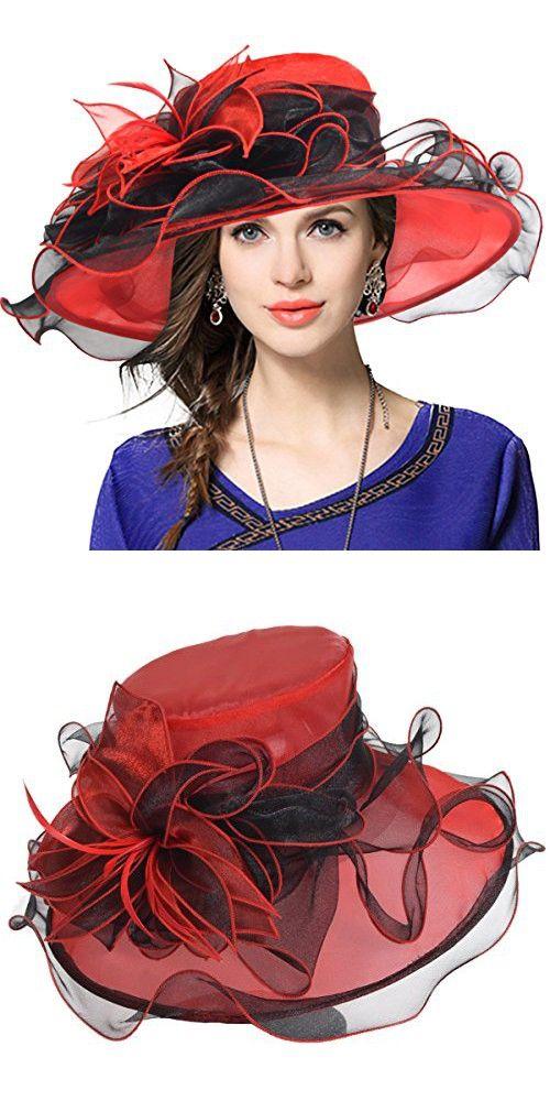 Women s Church Derby Dress Fascinator Bridal Cap British Tea Party Wedding  Hat (Two-tone-Red 7b9ec60eb60