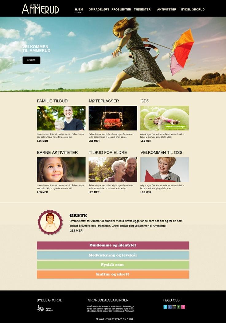 Forslag til webside for områdeløft for Ammerud.