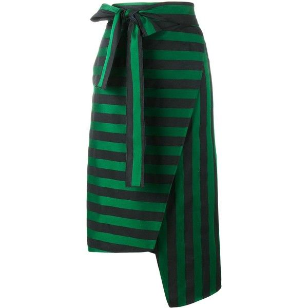 Rochas stripe asymmetric skirt ($1,003) ❤ liked on Polyvore featuring skirts, green, green striped skirt, patterned skirts, green skirt, rochas and striped asymmetrical skirt