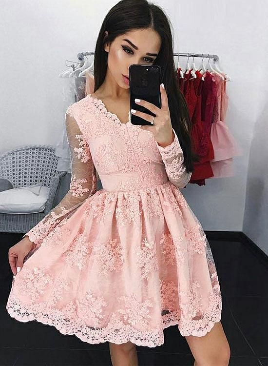 137991bd970 Beautiful Pink V Neck Lace Short Prom Dress