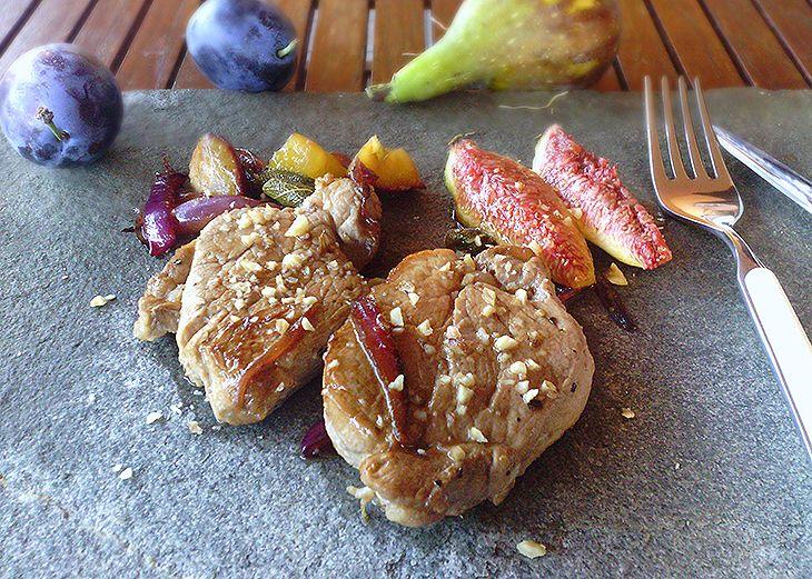 Filetto di maiale con fichi e prugne - Piatto leggero