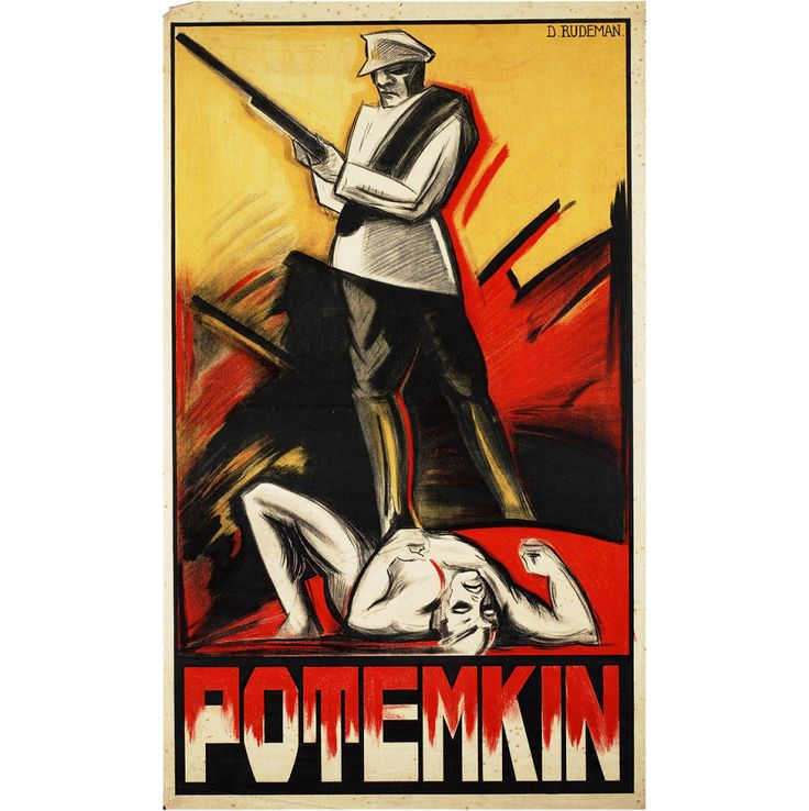 "Dutch poster by Dolly Rudeman (1926) ""This poster by Dutch artist Dolly Rudeman was produced in 1926, making it one of the first international posters for the film. Rudeman was the only female designer of film posters in the Netherlands in the 1920s, and her work for Potemkin kickstarted her career. (Though most of her work has been lost, 120 of Rudeman's film posters have been preserved by the ReclameArsenaal foundation in Amsterdam, a handful of which can be seen in a virtual exhibit ...)"""