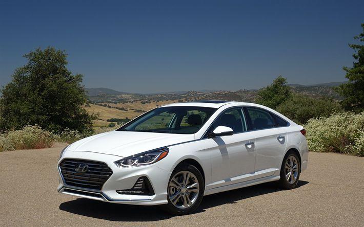 Download wallpapers Hyundai Sonata, 2018, 4k, business class, luxury sedan, white sonata 2018, new cars, Hyundai