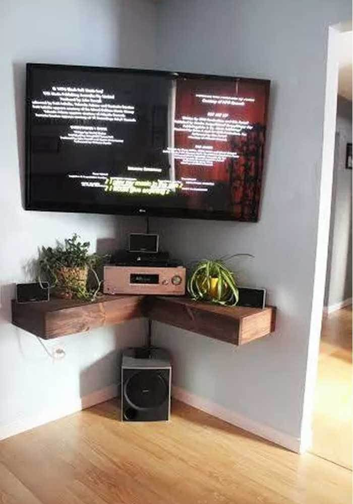 Image Result For Corner Wall Mounted Tv Unit Wall Mounted Tv Unit In 2020 Tv Wall Shelves Apartment Tv Living Room Tv Wall
