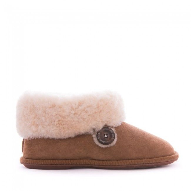 Lauren - Sheepskin Slipper Boots - Chestnut - Side