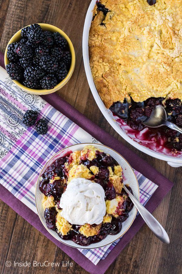Blackberry Lemon Dump Cake - gooey blackberry pie filling topped with lemon cake is a delicious summer recipe!