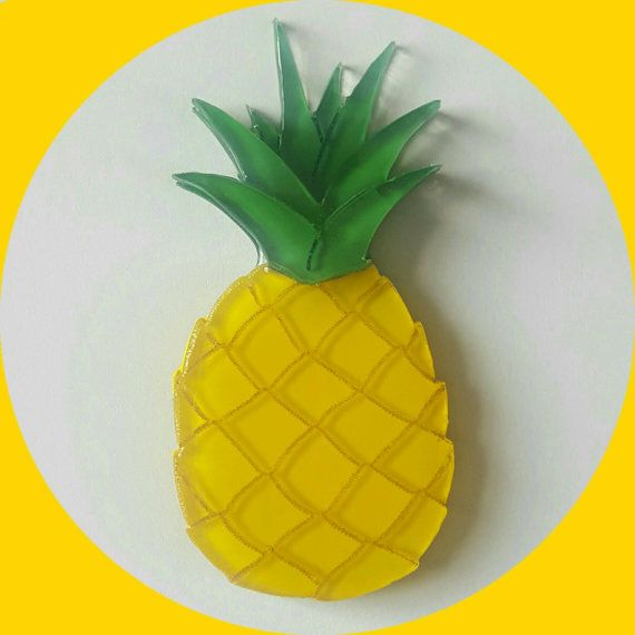 Tropical Pineapple Brooch, Vintage Inspired, Novelty brooch, Rockabilly, Pinup…