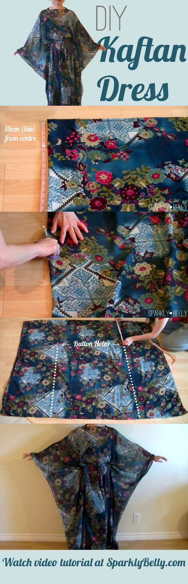 Easy, kaftan dress DIY! Perfect for cover-up :)