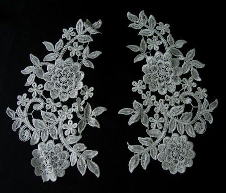 VT92 Large Mirror Pair Floral Lace Venise Venice Applique - Click Image to Close