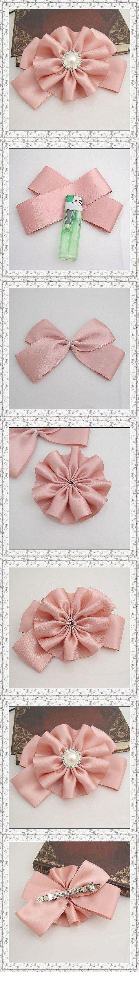 Fleurs roses arc en épingle à cheveux ~