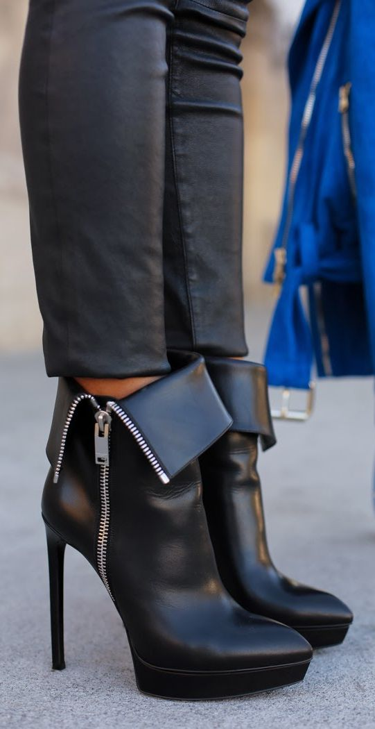 Leather Leg  + Saint Laurent Janis  Boots  by Vivaluxury