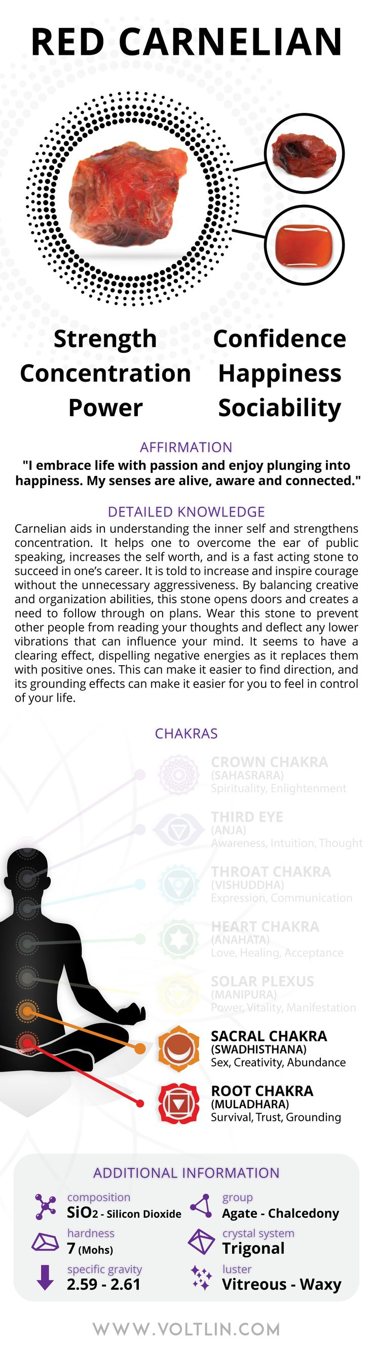 Description Carnelian aids in understanding the inner self and strengthens concentration. It helps one to overcome the fear of public speaking, increases the self-worth, and is a fast acting stone to