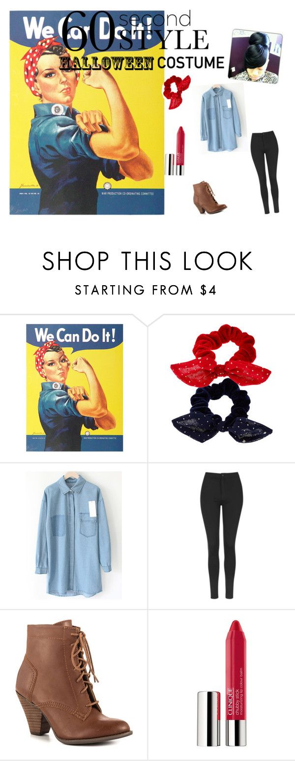"""""""Rosie the Riveter costume"""" by curtessa ❤ liked on Polyvore featuring Accessorize, Topshop, Mojo Moxy, Clinique, cute, MustHave and Halloween2015"""