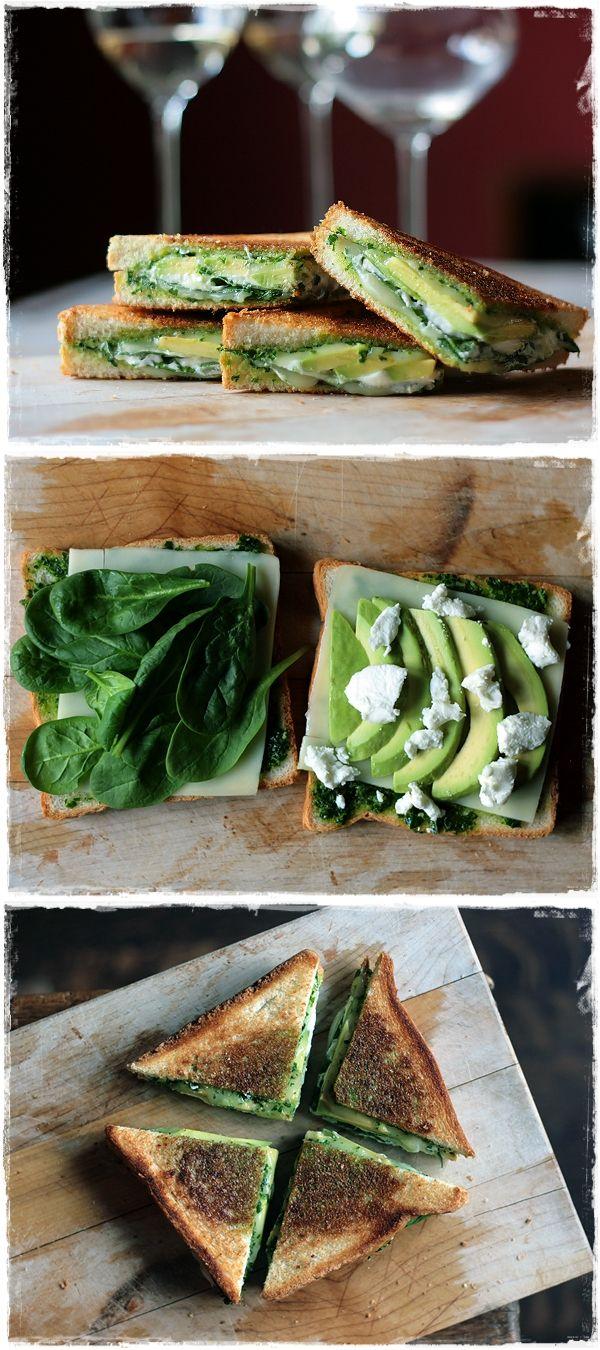 Green Goddess Grilled Cheese Sandwich: pesto, mozzarella, spinach, avocado, goat cheese.  I actually have this