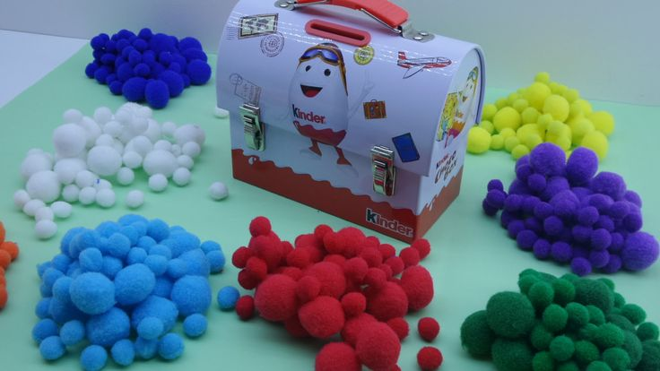 Kinder Choco boxer collect the hidden colored pompoms -Surprise Toys and...