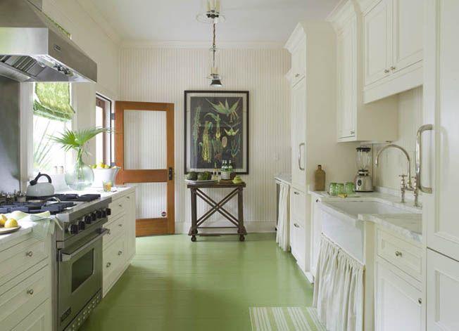 green kitchen floor