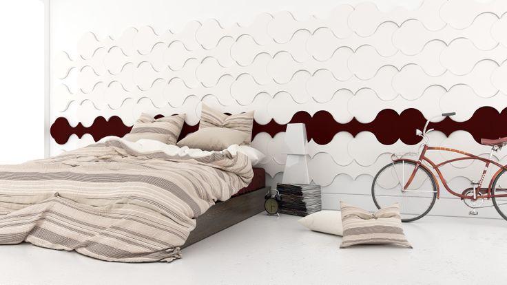 Aranżacja sypialni z wykorzystaniem miękkich paneli ściennych 3D (kolekcja TWIST - Fluffo, Fabryka Miękkich Ścian)