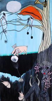 """ORPHEUS"" Oil on Canvas Unframed 36' x 18"" x 2"" 2017 #painting #oilpainting #orpheus #trufflepig #symbolism #originalart #mythological #art #artcollecting #artbuyers #artlovers #artcollectors #emergingartist"