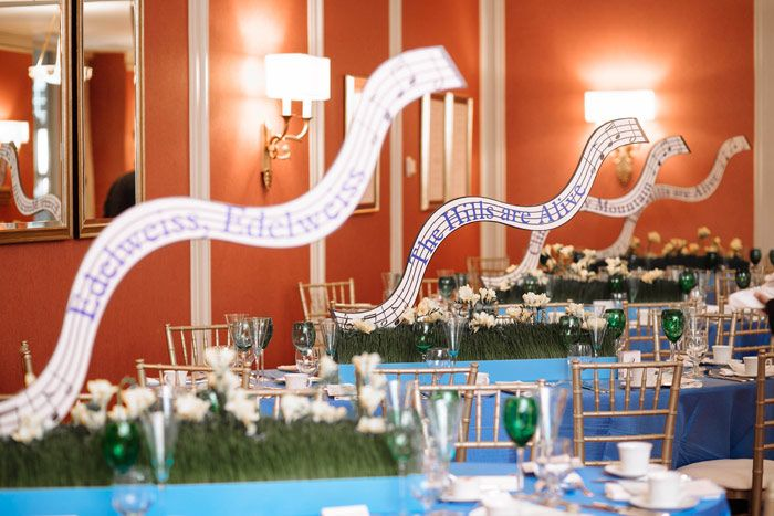 In the Graham Room, where guests had dinner before the show, tables were named after songs from The Sound of Music. They were also decked with blue linens and edelweiss flowers in patches of faux grass. HMR Designs handled the decor.  Photo: Jaclyn Simpson