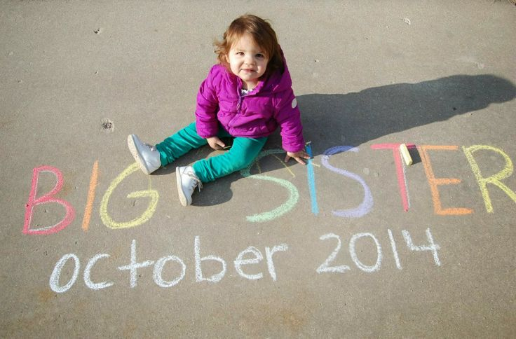 Big Sister Pregnancy Announcement - Chalk - Summer - October 2014
