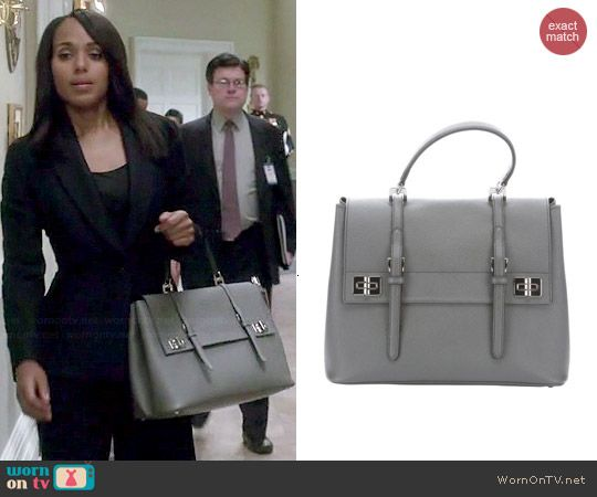 Olivia's grey double buckle bag on Scandal.  Outfit Details: https://wornontv.net/46782/ #Scandal