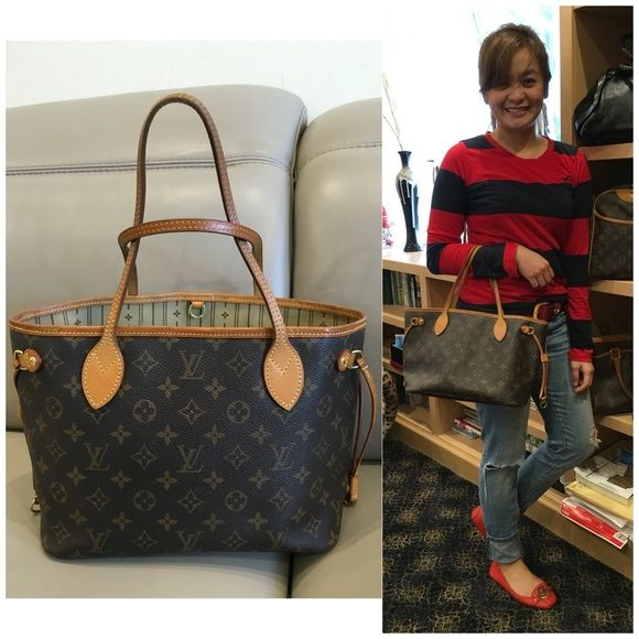 Louis Vuitton neverfull pm Retails for 1,180  Measurements: 15.4 x 8.7 x 5.5 All merchandise is 100% authentic.  Bag has a minor sign of wear  In good condition.  Date code VI2057 cheaper through ️️ and Ⓜ️ercari. $600 Louis Vuitton Bags Shoulder Bags