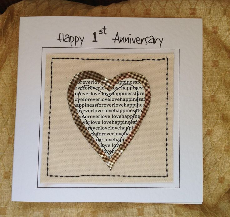 wedding anniversary greeting cardhusband%0A  st wedding anniversary card  Paper first anniversary card  Anniversary card  for husband or wife  son or daughter  Sewn paper and fabric