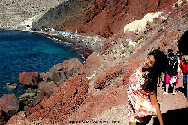 India's Award winning Travel Adventure Fashion VBlogger at Ankionthemove, Santorini Red Beach
