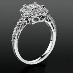 Princess Halo with Shared Pronged Round Diamonds Low Profile Setting MostUniqueWeddingRings