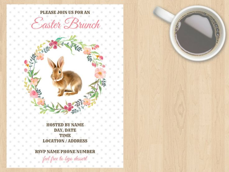 Digital Download Easter Brunch, Lunch, Dinner, Get Together, Party, Birthday Invitation, Rabbit, Bunny, Floral, Spring, Dots, Customisable by DesignsByMoniqueAU on Etsy