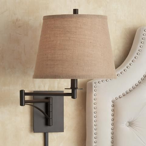 Brinly Burlap Shade Brown Plug-In Swing Arm Wall Light - #4H013 | Lamps Plus