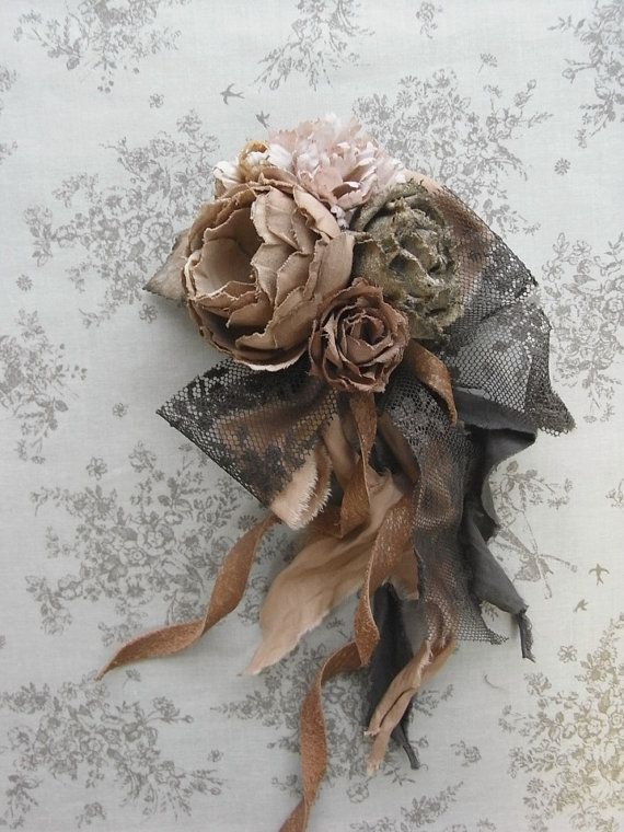 corsage sepia hand dyed by kikosattic on Etsy, $120.00