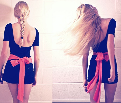 American Apparel Black Dress, High Waisted Shorts From H, American Apparel Sash Bow
