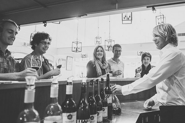 Having a good chat at the Aravina cellar door. A first-stop for many when they visit the winery! We have a full selection of our wines available for tastings.