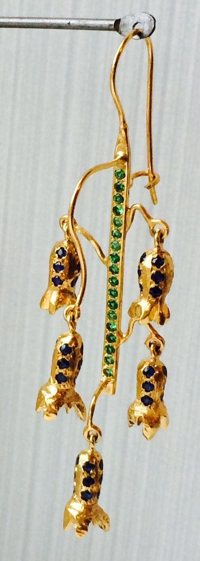 Bluebell earrings,gold 9ct, tsavorites and sapphires by kochiokada on Etsy