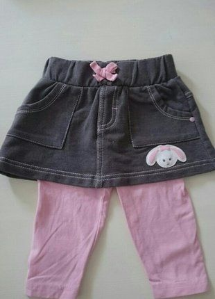 Kaufe meinen Artikel bei #Mamikreisel http://www.mamikreisel.de/kleidung-fur-madchen/leggings/41168788-rosane-leggings-mit-grauen-rock