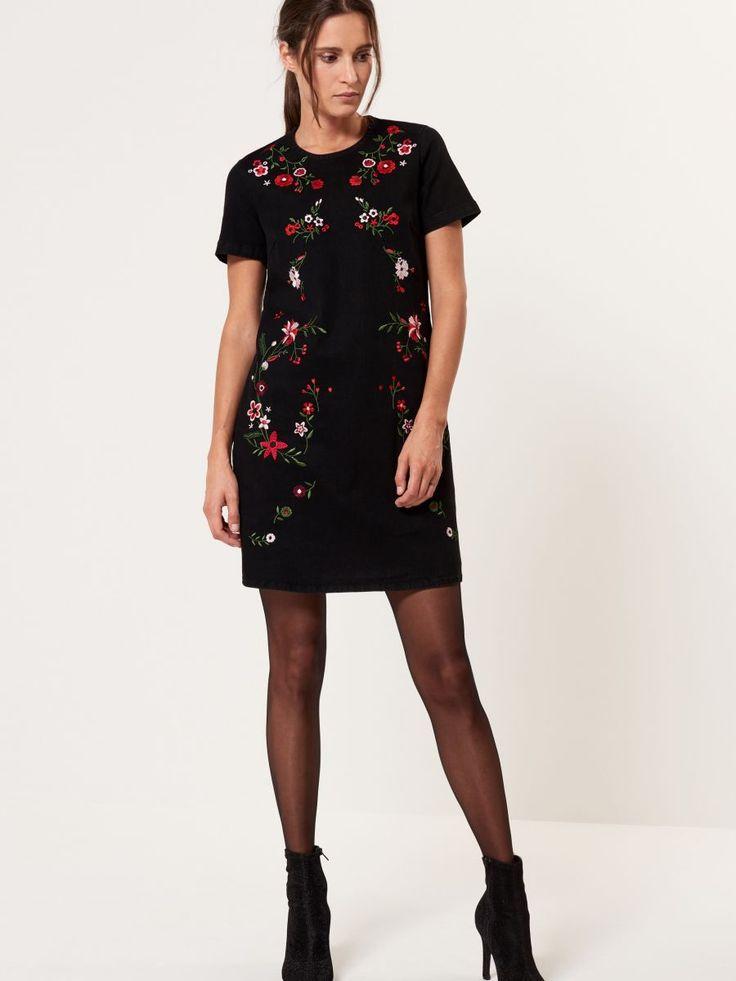 Jeansowa sukienka z wyhaftowanymi kwiatami, MOHITO, SB296-99J