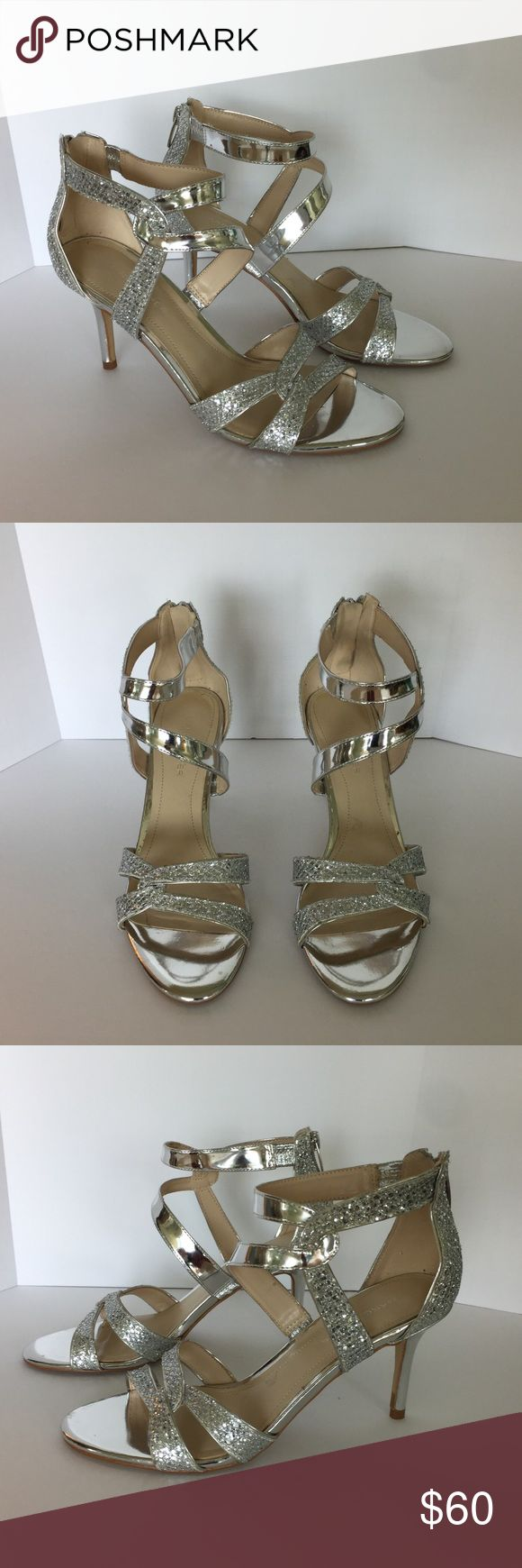 Marc Fisher silver glitter heels Marc Fisher silver glitter heels.  Worn once, excellent condition Marc Fisher Shoes Heels