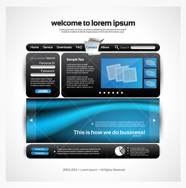 New sleek blue and black website template PSD - edit to make your own personalized website.