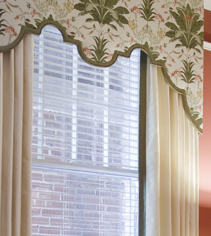 Custom scalloped cornice board with drapery panels top for Custom window designs