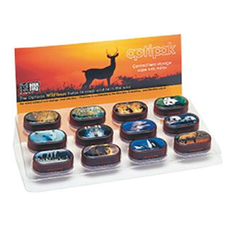 Optipak 'Endangered Species' contact lens cases. High quality lens case with integral mirror featuring 'Endangered Species' printed on the lids.