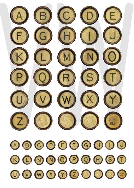 VINTAGE TYPEWRITER KEYS - worn rusted ivory letter keys ...