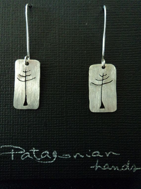 Fine silver Mapuche Araucaria tree earrings by PatagonianHands, $40.00
