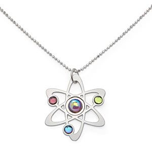 Rutherford-Bohr Model atom necklace from ThinkGeek. I (Merri) have one. They're very pretty.