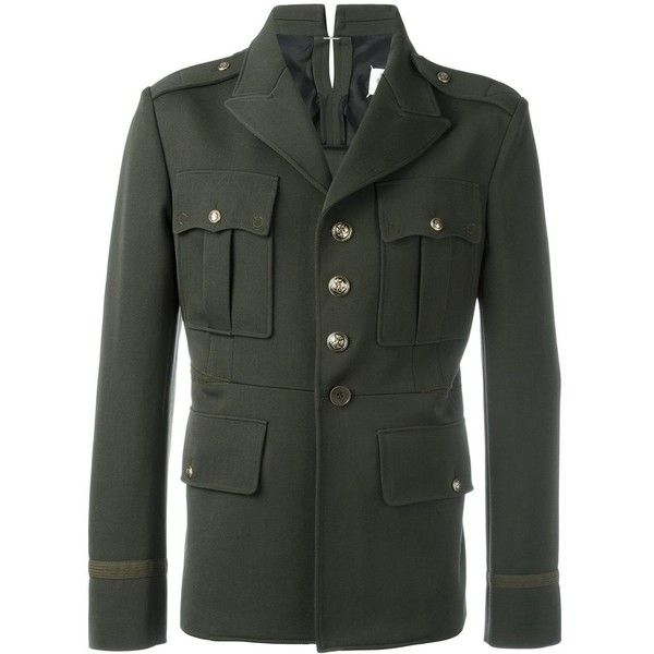 Maison Margiela military inspired jacket ($1,950) ❤ liked on Polyvore featuring men's fashion, men's clothing, men's outerwear, men's jackets, green, mens military style jacket, mens military jacket, mens green military jacket, mens green jacket and mens green military style jacket