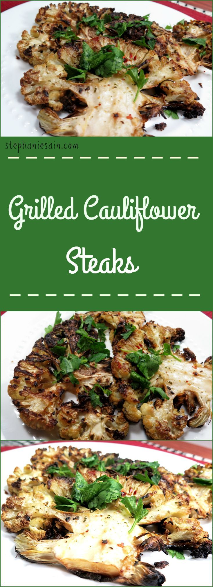 Grilled Cauliflower Steaks are a healthy, vegetarian option for your next cookout. Easy to prepare with only a few seasonings. Vegan & Gluten Free.