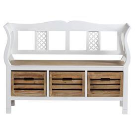 A charming focal point for your cottage hallway, this solid paulownia wood bench features three crate drawers perfect for storing shoes or out-the-door essentials. Scatter its bare wood seat with floral cushion and arrange alongside pastel tones to complete the country look.   Product: BenchConstruction Material: Paulownia woodColour: Hazel and whitewash Features: Three crate drawersDimensions: 83 cm H x 116 cm W x 45 cm D