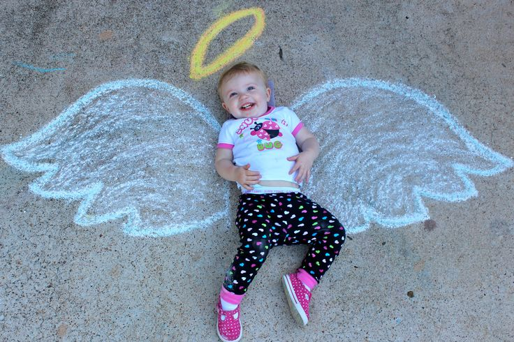 Sweet angel baby sidewalk chalk art