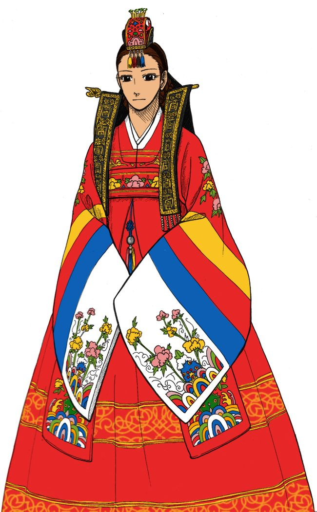 Hanbok, A Korean Bride by Glimja on deviantARTHanbok, A Korean Bride / 2013  This red dandification is 'Hwarot', a formal dress for princesses.  Korean women of old could wear a clothes named 'Wonsam', similar to this dress (but more cheaper) only when their wedding once in a lifetime.